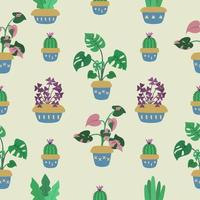 Seamless pattern about tropical houseplant vector