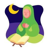 mujer musulmana rezando en el festival islámico estacional vector