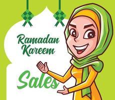 Cartoon smiling Muslim female wearing hijab showing festival sales signboard vector
