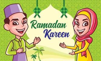 Muslim prayers celebrating Hari Raya Aidilfitri with Islamic decoration vector