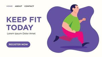Fat man jogging for web banner vector