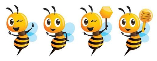 Cartoon cute bee series showing victory sign holding honey dipper and honeycomb vector