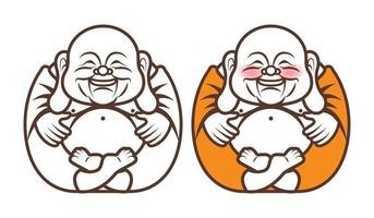 Laughing Buddha character with big belly vector