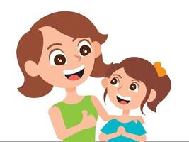 Mother showing thumb up hand to daughter vector