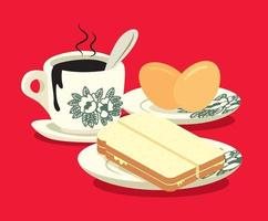 Traditional oriental style coffee with half boiled eggs and kaya butter toast set on red colour background vector
