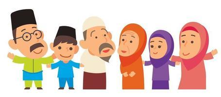 Muslim family member standing aligned together vector