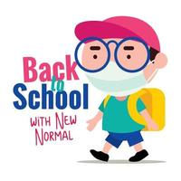 Kid wearing protective surgical mask back to school to prevent virus during pandemic new normal vector