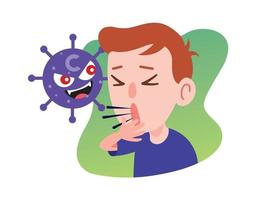Kid coughing seriously due to virus character attack vector