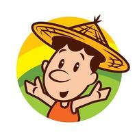 Cartoon cute farmer character wearing farmer straw hat with welcome hands on nature field scene vector