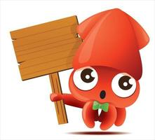 Cartoon cute squid with bowtie holding wooden empty signboard vector