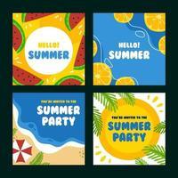conjunto de tarjetas de ambiente de verano vector
