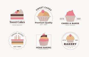 Cake logo collection vector