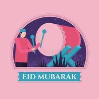 Eid mubarak bedug background vector