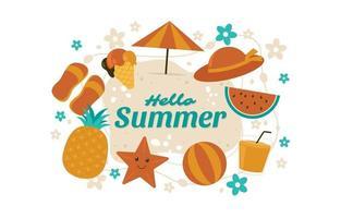 Summer elements background vector
