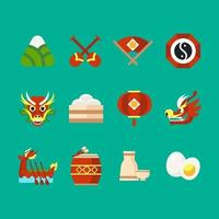 Dragon boat festival icons vector