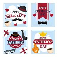 Set of Happy Fathers day cards vector