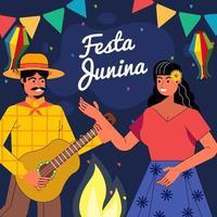 Ilustración de pareja bailando y cantando en el festival festa junina vector