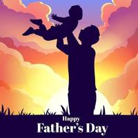 Ilustración de un padre levantando a sus hijos en el aire vector
