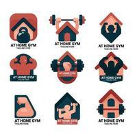 en casa gimnasio logo vector