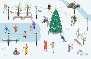 People walk in the park in winter vector