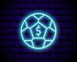 Online betting neon sign. Sports betting. Online betting logo, neon symbol, light banner, bright night advertising, gambling, casino. Vector isolated on brick wall