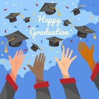 Throwing hat celebrating the graduation ceremony vector