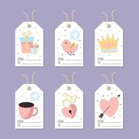 etiqueta de regalo amor con elemento colorido y lindo vector