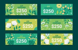 Gift voucher with nature leaves and flower element vector