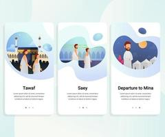 Hajj guide step by step user interface kit vector illustration