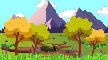 montañas y llanura verde en un día ventoso en la temporada de verano video