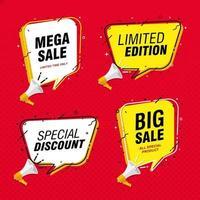 Fondo de promoción de banner de gran venta con bocadillo y megáfono vector
