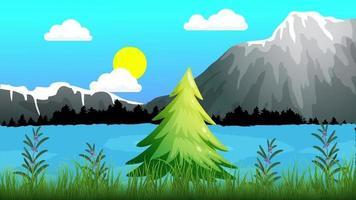 lac ondulé près des hautes montagnes video