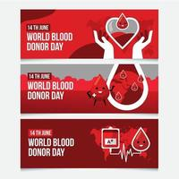 World blood donation banner collection vector