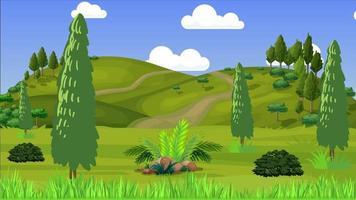 día ventoso en hermosas colinas verdes video