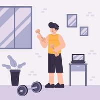 Man exercise independently at home vector
