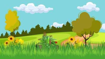 flores en el viento en la llanura verde video