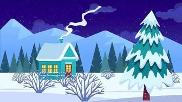 temporada de invierno y humo en una noche nevada. video