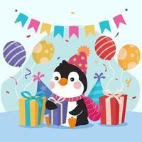 Penguin Having Birthday Party vector