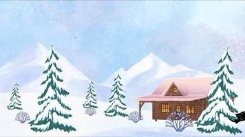 la cabaña solitaria en un día nevado de invierno video