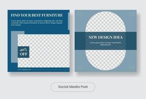 Furniture social media post banner template vector