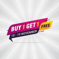 Buy one get one Free sale banner discount tag design template vector illustration
