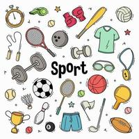 Hand drawn doodle sport collection vector