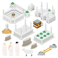 Hajj isometric vector illustration Set for Infographic elements of Pilgrimage Illustration