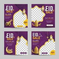 Eid sale social media banner post template with crescent moon and lantern vector