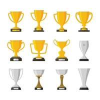 Set of trophy award winner prize champion cup isolated vector illustration