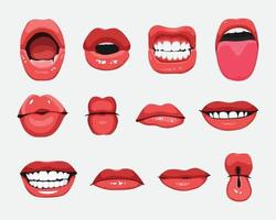 Set of mouth expressions facial gestures vector illustration