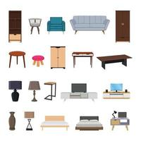 Colección de interiores de muebles, elementos de diseño, ilustración vectorial vector
