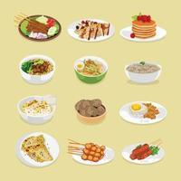 Conjunto de comidas para el desayuno, el almuerzo y la cena, ilustración vectorial vector