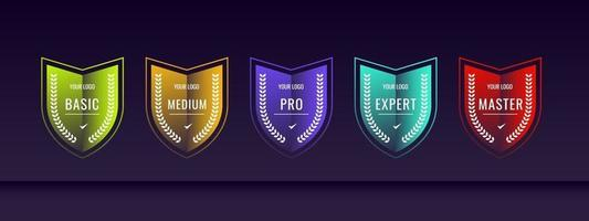 Certified badge logo with shield shape template set vector
