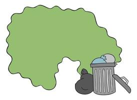 Cartoon Vector Illustration of Garbage Bin on the Street and the Disgusting Smell of Garbage